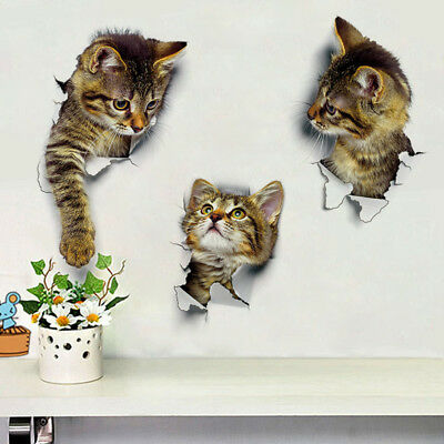 3D Cute Cat Wall Stickers Toliet Stickers Decorations Creative Animal Wall