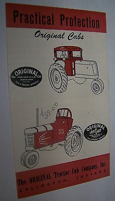 c1950 ORIGINAL TRACTOR CAB CO ARLINGTON IN ADVERTISING BROCHURE ONEIDA NY DEALER