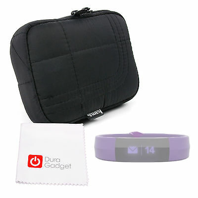 Case/Bag w/ Belt Loop in Classic Black for Mio Slice Smartwatch + Cleaning Cloth