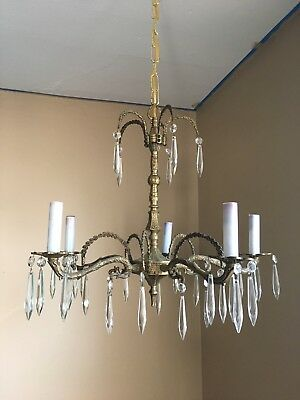Vtg Antique Brass 5 Arm Chandelier Hanging Light Fixture Glass Crystal Prism MCM