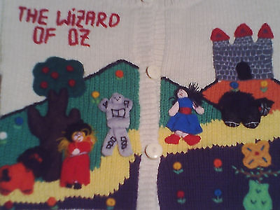 The WIZARD OF OZ CARDIGAN SWEATER 100% COTTON VINTAGE 1989 ROAD LAND OF OZ RARE!