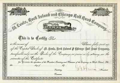 187_ St Louis Rock Island & Chicago RR Stock Certificate