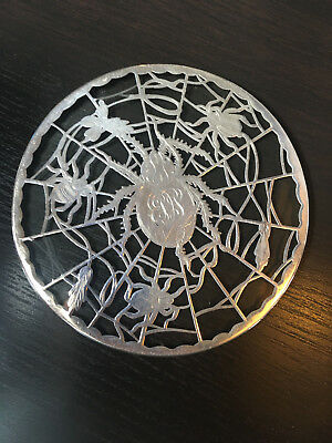 Sterling Silver Overlay Trivet Aesthetic Movement Spider & Web Insects
