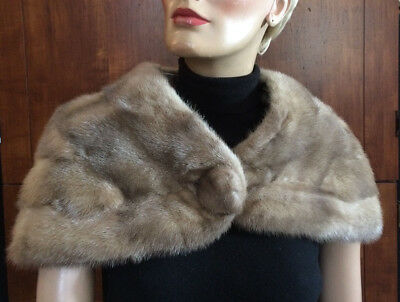 Vtg Richland Furs Blissfield Mi Mink Stole Cape Wrap Shawl Sz Small Front Button
