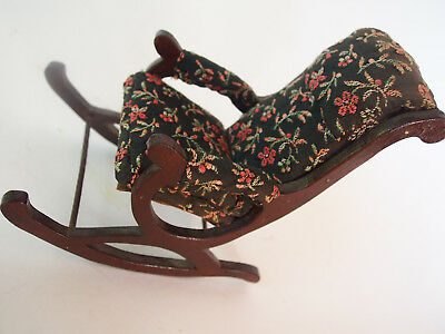 Large Antique Victorian Hand Embroidery Petit Point Wood Rocking Chair Dollhouse