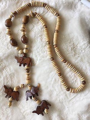 """Vintage Long Hand Carved Wood Elephant Bead 21"""" Drop Necklace"""