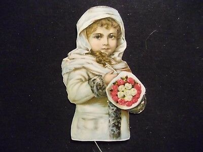 victorian scrap # 9838 - SNOW CHILD HOLDING BOUQUET OF ROSES - CUT OUT - LARGE
