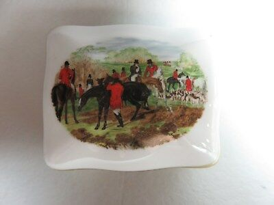 Vintage Equestrian Hammersley England Trinket Ring Box, Hunt Scene