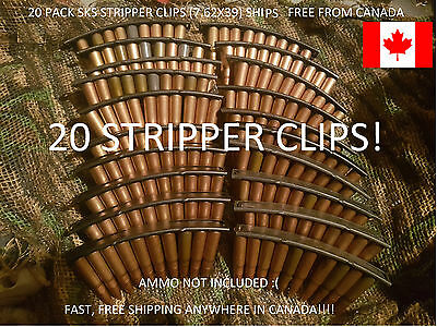 20x SKS AK stripper clips (lot of 20), NEW. SHIPS FREE FROM CANADA! Full size