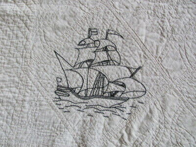 Antique cotton embroidered nautical ship hand quilted flour feed sack quilt