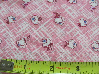 Vintage cotton feed sack pink maroon blue small design