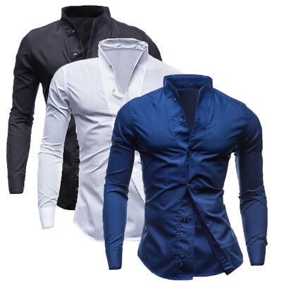 Mens Luxury Casual Tops Formal Shirt Cotton Long Sleeve Slim Fit Dress Shirts