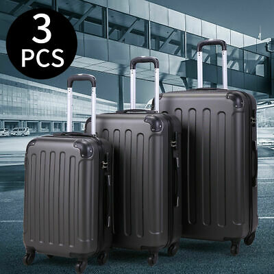 Set of 3 Pcs Suitcase Luggage Travel Bag Tags Spinner Code Lock  Wheels Gray BHC