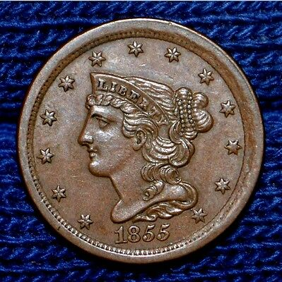 1855 HALF CENT**UNC**Nice Brown Color