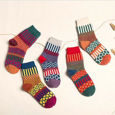 US Stock 5 Pairs Women Wool Cashmere Warm Thick Casual Multicolor Winter Socks