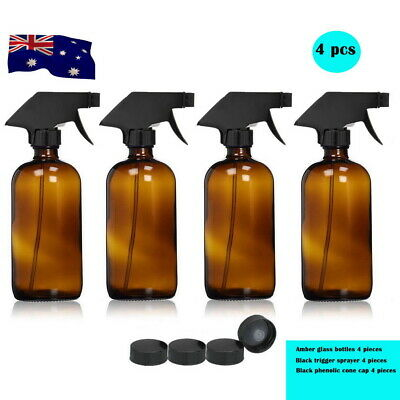 4x 500ML Amber Glass Spray Bottles Trigger Sprayer Aromatherapy Dispenser OZ