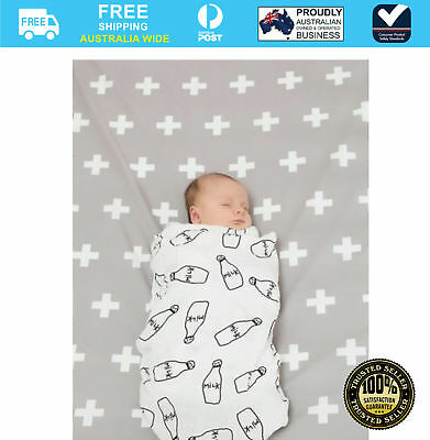 Bambella Cot Mattress Protector Crosses Grey