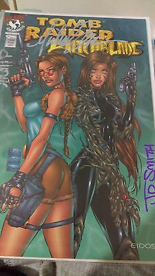 rare tomb raider/witchblade signed turner,wohl,smith coa