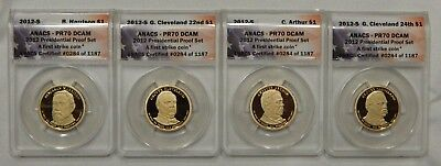 2012 S Presidential Proof Set (4pcs) ANACS PR70 DCAM First Strike #284 of 1187
