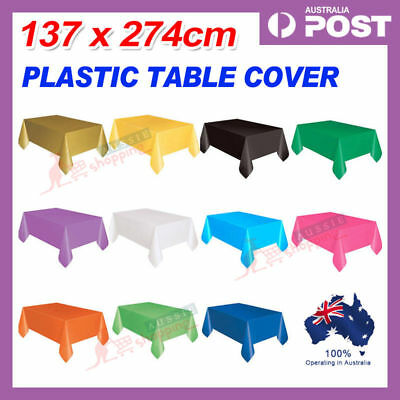 137*274cm Tablecover Table Cover Plastic Tablecloth Birthday Wedding Party OZ