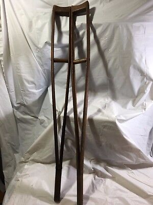Rare Antique Wooden Carved Crutches Civil War Medical Devices Historical