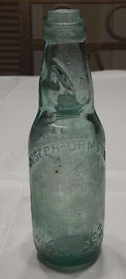 Early Joseph Urmston Hardwood English Aqua Blob Top Bottle - Godd's Patent