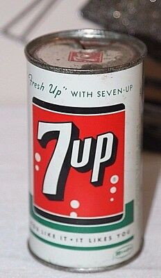 "Vintage 7 UP  7UP Steel Can Flat Top Can w/ Vanity Top ""FRESH UP"""