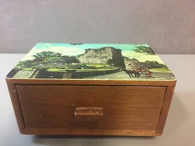 Vintage Wood Irish Music Box Ross Castle with Pull Out Drawer Activation ~ Works