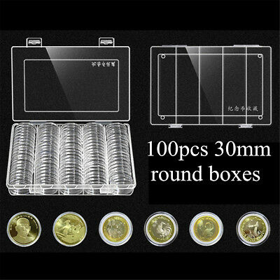 100x 30mm Clear Plastic Coin Round Capsule Holder Display Case Collection + Box
