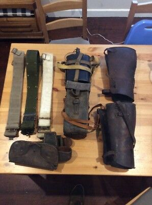 Lot Of Militaria; Leather; Belts; Ammo Holder; Gaiters; Enamel Water Canister