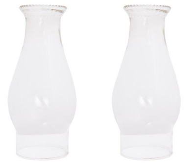 2 x New  Clear Glass oil chimney for kerosene oil Lamps 21 cm x 7 cm Crown Top