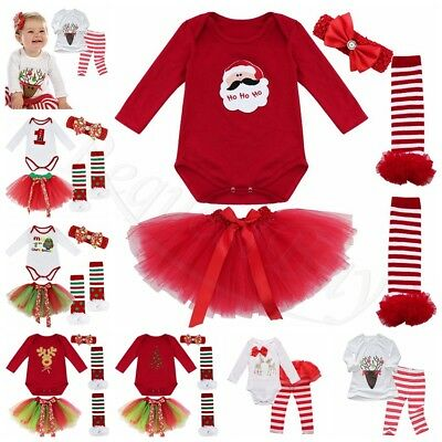 4Pcs My First Christmas Santa Baby Girls Romper Fancy Tutu Dress Outfit Clothes