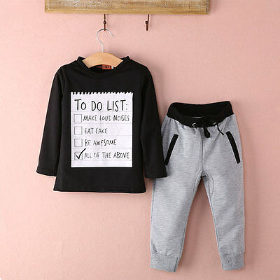 USA Stock Toddler Kids Baby Boy T-shirt Tops+Pants Trousers Autumn Outfits Set
