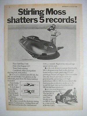 1957 Mg Ex 181 Stirling Moss Shatters 5 Records! British Magazine Advertisement