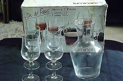 4 x Clear French Luminarc Stemmed Wine /Juice /Water Glasses & Matching Carafe