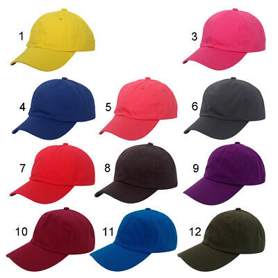 16 Colors Unisex Solid Plain Hats Baseball Caps 6 Panel Strapback Unstructured