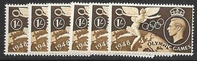 Uk    1/-  Brown  1948 Olympic Games     6 Stamps   Muh