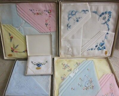 12 vintage embroidered SWISS COTTON HANDKERCHIEFS unused in Boxes