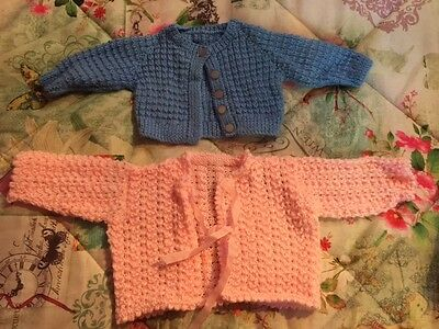 Adorable New Baby Blue and Pink Wool Handknitted Cardigans Brand NEW
