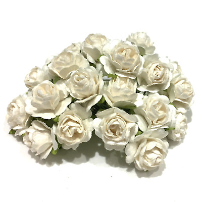 Pale Ivory Open Mulberry Paper Roses Or103