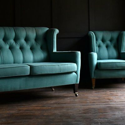 Elegant Edwardian Wingback Two Seat Sofa and Armchair. Upholstery Inclusive.