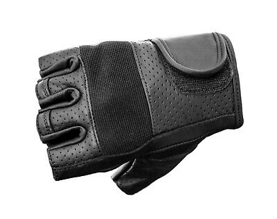 Fingerless Leather Motorcycle Gloves - Gel Palm - Oz Biker - LARGE