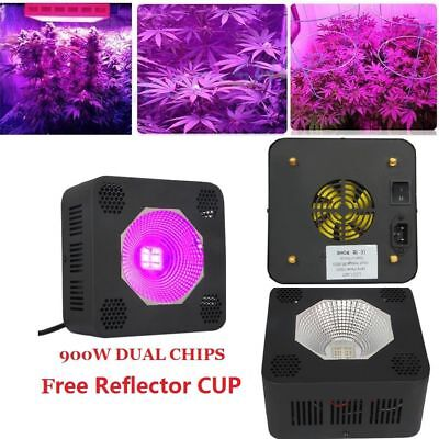 900W Full Spectrum COB LED Grow Light 2Chips For Plants Veg Hydro+Reflector Cup
