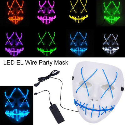 For The Purge Movie LED EL Wire Party Mask Halloween Costume Cosplay Masks