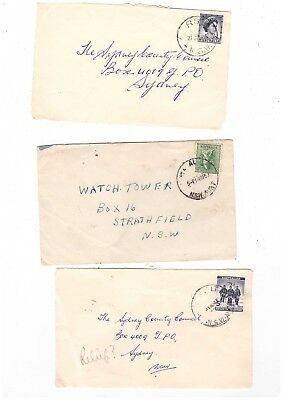 """Australia 1957/61 Group of """"Alphabet Relief """" cancels on Covers.  ( 3 covers )"""