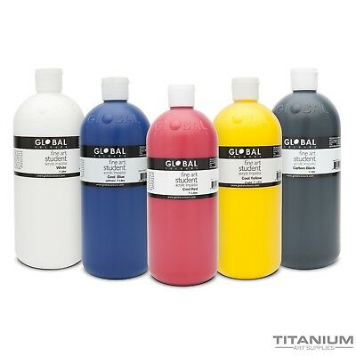 Acrylic Art & Craft Paint Set 5 x 1 Litre Cool & Warm Colours - combo pk