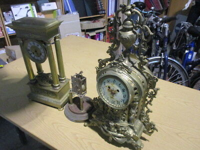 3 x Clocks For Spares Or Repairs Brass Clock parts