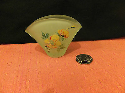 Vintage Small Green Glass VASE handpainted