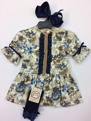 * New Winter * Girls Romany Floral Navy Blue Camel Dress with bows and Lace
