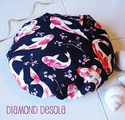 Shower Bath Cap Soft Cotton Fish Print Japanese Style Waterproof Inner UK Gift